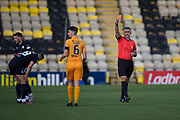 16th February 2019, Tony Macaroni Arena, Livingston, Scotland; Ladbrokes Premiership football, Livingston versus Dundee; Shaun Byrne of Livingston is red carded by referee Greg Aitken in the 16th minute