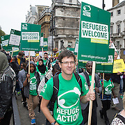 Refugee Action, one of the 60 organisations supporting the 2016 Refugees Welcome Here march, calling on the government to do more to welcome refugees here in the UK. The march was organised by Solidarity with Refugees and held on the 17th of September 2016, Westminster, Central London, UK.