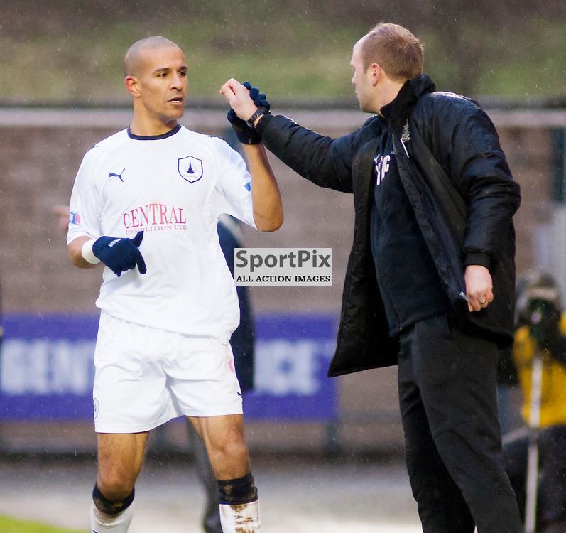 Farid El Algugai celebrates heading in at the back post with his coach, Livingston v Falkirk, SFL Division 1, Braidwood Motor Company Stadium, Monday 2nd January 2012