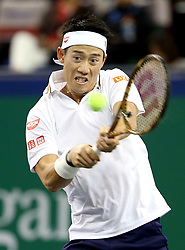 SHANGHAI, Oct. 10, 2018  Japan's Kei Nishikori hits a return during the men's singles second round match against China's Wu Yibing at the Shanghai Masters tennis tournament on Oct. 10, 2018. Kei Nishikori won 2-1. (Credit Image: © Fan Jun/Xinhua via ZUMA Wire)