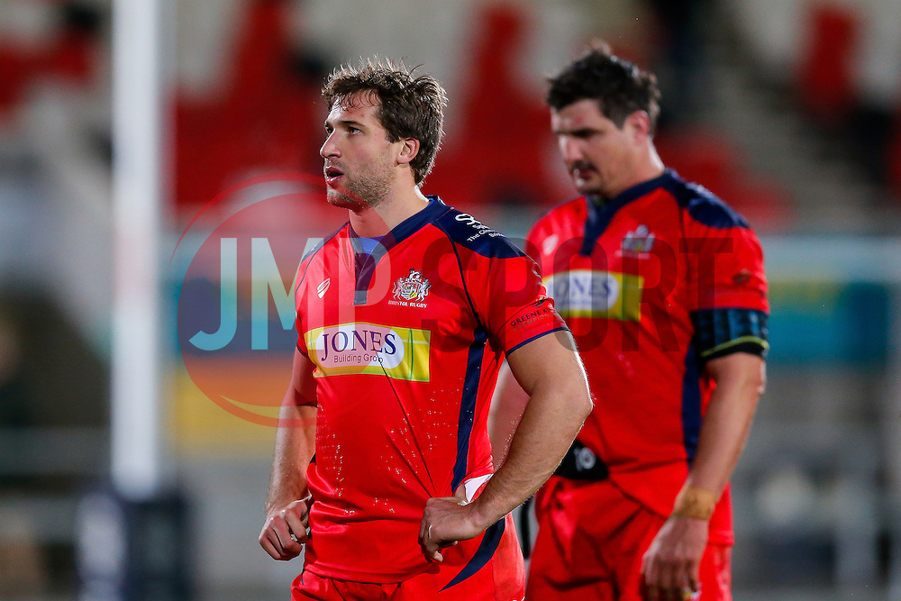 Bristol Rugby Outside Centre Tommaso Benvenuti looks dejected after Bristol lose the match 30-5 - Mandatory byline: Rogan Thomson/JMP - 13/11/2015 - RUGBY UNION - Kingspan Stadium - Belfast, Northern Ireland - Ulster Ravens v Bristol Rugby - The British & Irish Cup Pool 2.