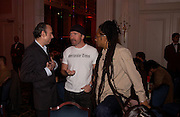 Mick Jones, The Edge and Don Letts, The Q Awards 2004, Grosvenor House, London. 4 October 2004. ONE TIME USE ONLY - DO NOT ARCHIVE  © Copyright Photograph by Dafydd Jones 66 Stockwell Park Rd. London SW9 0DA Tel 020 7733 0108 www.dafjones.com
