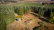 Aerial view over Open Claim Vineyard aerials, Willamette Valley, Oregon