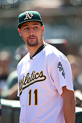 OAKLAND, CA - SEPTEMBER 26:  Basketball player Klay Thompson of the Golden State Warriors stands on the field before the game between the Oakland Athletics and the San Francisco Giants at O.co Coliseum on September 26, 2015 in Oakland, California. The San Francisco Giants defeated the Oakland Athletics 14-10. (Photo by Jason O. Watson/Getty Images) *** Local Caption *** Klay Thompson