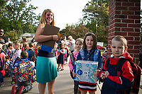 Miss Sapack and her kindergarten students are prepared and ready to start their first day of school at Elm Street Elementary Thursday morning.  (Karen Bobotas/for the Laconia Daily Sun)