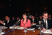 Attorney General Janet Reno with CIA Director George Tenet and FBI Director Louis Freeh testify in Congress in Washington, DC.