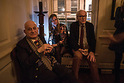 NAIM ATTALAH; SALLY EMERSON; , DAVID ELLIOT,  The launch of Fire Child by Sally Emerson. Hosted by Sally Emerson and Naim Attalah CBE. Dean St. London. 22 March 2017