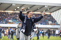 Football - 2016 / 2017 FA Cup - Fifth Round: Millwall vs. Leicester City <br /> <br /> Millwall fan celebrates at the final whistle at The Den<br /> <br /> COLORSPORT/DANIEL BEARHAM