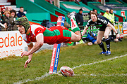 Keighley Cougars winger Harry Aaronson (28) scores a try   during the Betfred League 1 match between Keighley Cougars and Workington Town at Cougar Park, Keighley, United Kingdom on 18 February 2018. Picture by Simon Davies.