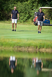 SOUTH BEND, INDIANA, USA - Wednesday, July 17, 2019: Liverpool's Ambassador Patrik Berger (L) and Ambassador Vladimír Šmicer (R) play golf at the Warren Golf Club at Notre Dame University on day two of the club's pre-season tour of America. (Pic by David Rawcliffe/Propaganda)
