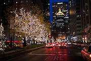 Park Avenue lit with Christmas lights, looking south with the MetLife building in the background.