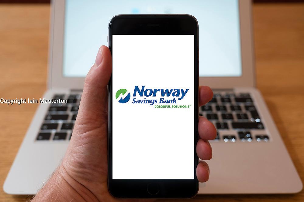 Using iPhone smart phone to display website logo of Norway Savings Bank
