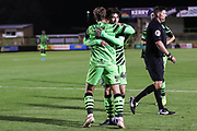 Forest Green Rovers Dayle Grubb(8) scores a goal 2-1 and celebrates with Forest Green Rovers Dan Jones  during the EFL Trophy match between Forest Green Rovers and U21 Southampton at the New Lawn, Forest Green, United Kingdom on 3 September 2019.
