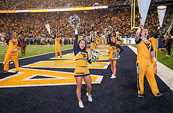 Nov 4, 2017; Morgantown, WV, USA; West Virginia Mountaineers cheerleaders perform during the fourth quarter against the Iowa State Cyclones at Milan Puskar Stadium. Mandatory Credit: Ben Queen-USA TODAY Sports