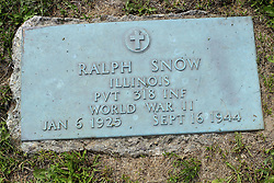 31 August 2017:   Veterans graves in Park Hill Cemetery in eastern McLean County.<br /> <br /> Ralph Snow Illinois  Private 318 INF  World War II Jan 6 1925  Sept 16 1944