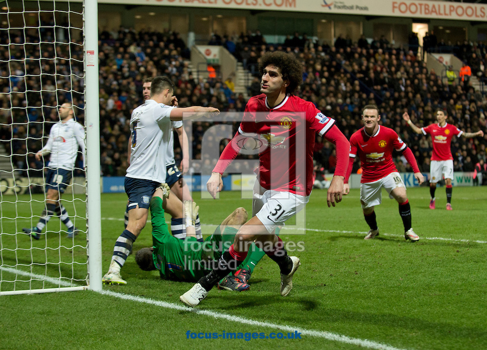 Marouane Fellaini of Manchester United celebrates after scoring his team's 2nd goal to make it 2-1 during the FA Cup match at Deepdale, Preston<br /> Picture by Russell Hart/Focus Images Ltd 07791 688 420<br /> 16/02/2015