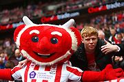 Lincoln City fan and mascot during the EFL Trophy Final match between Lincoln City and Shrewsbury Town at Wembley Stadium, London, England on 8 April 2018. Picture by John Potts.