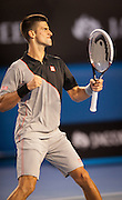 Novak Djokovic (SRB) went up against unseeded Lucas Lacko (SVK)  in day one play of the 2014 Australian Open In Melbourne. Djokovic defeated Lacko 6-3,7-6,6-1.