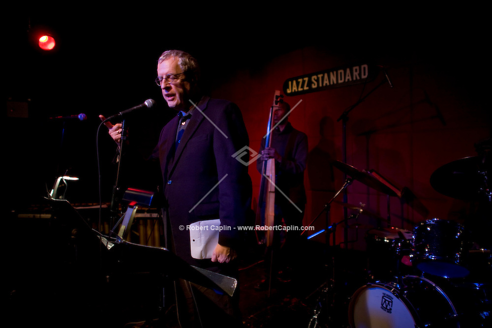 Current US poet laureate Charles Simic rehearses some poetry prior to a collaboration with jazz musicians and former laureate, Robert Pinsky, at the Jazz Standard in New York, U.S. 1/8/08.