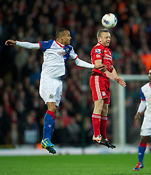BLACKBURN, ENGLAND - Tuesday, April 10, 2012: Liverpool's Jay Spearing in action against Blackburn Rovers during the Premiership match at Ewood Park. (Pic by David Rawcliffe/Propaganda)