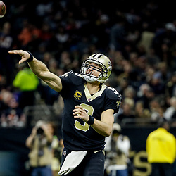 Oct 29, 2017; New Orleans, LA, USA; New Orleans Saints quarterback Drew Brees (9) throws against the Chicago Bears during the first half of a game at the Mercedes-Benz Superdome. Mandatory Credit: Derick E. Hingle-USA TODAY Sports