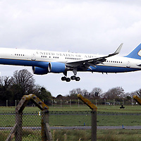 The plane carrying US First Lady Michelle Obama arrives at Shannon Airport on Sunday afternoon on a refuelling stop before continuing on to Andrews Air Force Base near Washington DC.<br /> Photograph by Pat Flynn