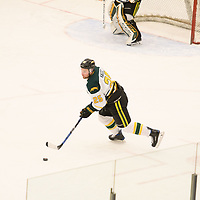 1st year defence man Lucas Nagel (25) of the Regina Cougars in action during the Men's Hockey home game on February 3 at Co-operators arena. Credit: Arthur Ward/Arthur Images