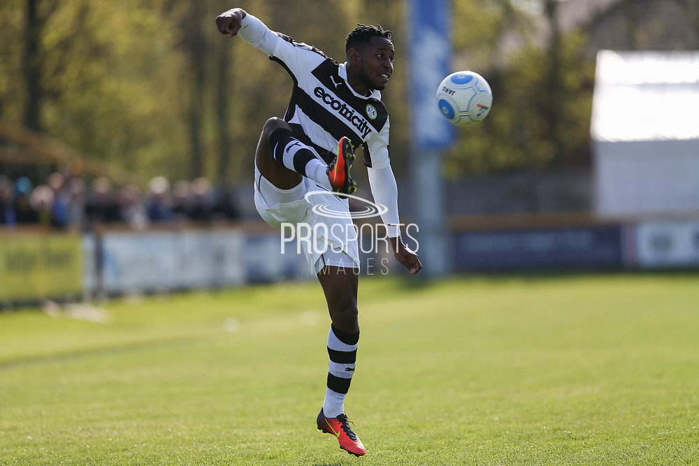 Forest Green Rovers Dale Bennett(6) controls the ball during the Vanarama National League match between Southport and Forest Green Rovers at the Merseyrail Community Stadium, Southport, United Kingdom on 17 April 2017. Photo by Shane Healey.