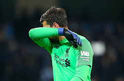 Liverpool goalkeeper Alisson Becker during the Premier League match at the Etihad Stadium, Manchester.