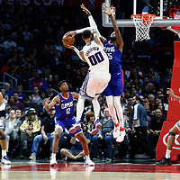 13 January 2018: Sacramento Kings center Willie Cauley-Stein (00) goes for the layup against LA Clippers center Willie Reed (35) during the LA Clippers 126-105 victory over the Sacramento Kings, at the Staples Center, Los Angeles, California, USA.