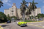 Havana, Cuba. Hotel A vintage American cabriolet in front of Nacional de Cuba.