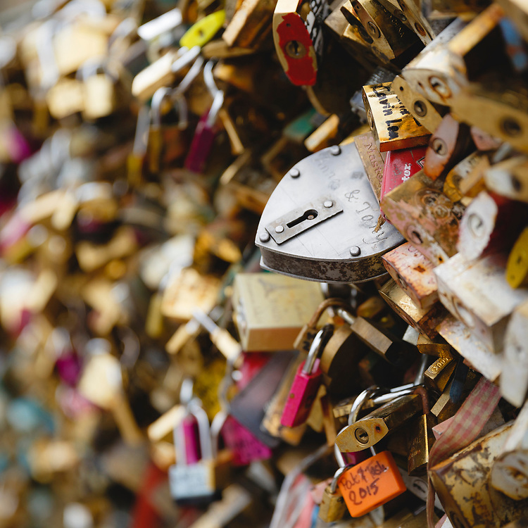 Some of the many locks on the Pont des Arts in Paris