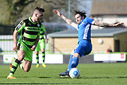 Forest Green Rovers midfielder Jake Gosling (31) on the attack 0-1 during the Vanarama National League match between Forest Green Rovers and North Ferriby United at the New Lawn, Forest Green, United Kingdom on 1 April 2017. Photo by Alan Franklin.