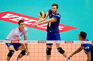 (C) Julien Lyneel from France receives the ball during the 2013 CEV VELUX Volleyball European Championship match between France and Turkey at Ergo Arena in Gdansk on September 22, 2013.<br /> <br /> Poland, Gdansk, September 22, 2013<br /> <br /> Picture also available in RAW (NEF) or TIFF format on special request.<br /> <br /> For editorial use only. Any commercial or promotional use requires permission.<br /> <br /> Mandatory credit:<br /> Photo by © Adam Nurkiewicz / Mediasport