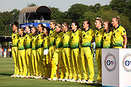 Australian players stand for the national before the start of the second women's one day International ( ODI ) match between India and Australia held at the Reliance Cricket Stadium in Vadodara, India on the 15th March 2018<br /> <br /> Photo by Vipin Pawar / BCCI / SPORTZPICS