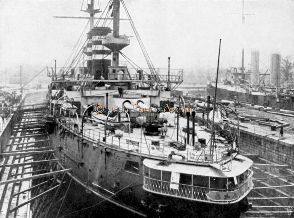 Russo-Japanese War 1904-1905: Japanese warship 'Mikasa'.  Built at Barrow-in-Furness, she is shown here in dry-dock in Portsmouth Docks, England
