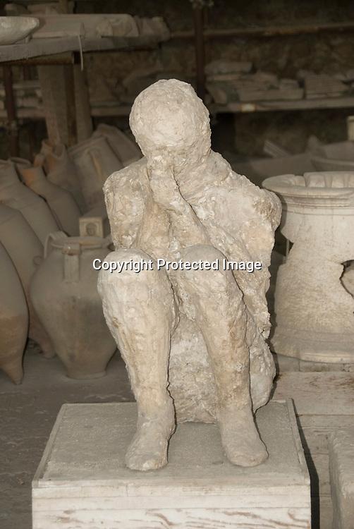 Victim of the Vesubius eruption in Pompeji, Italy