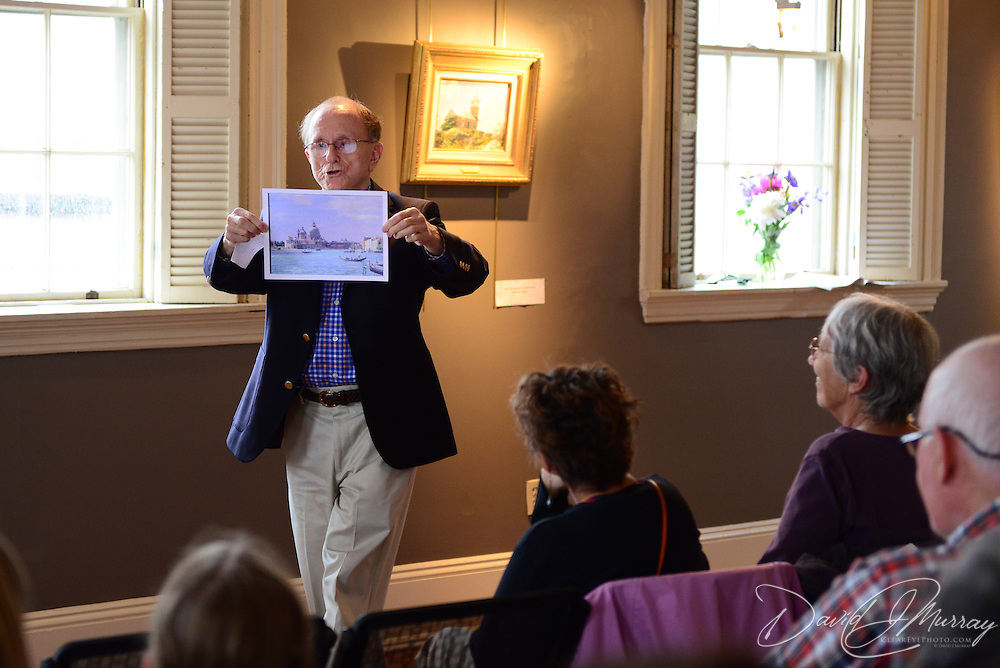 Artist John Stobart gives a talk about his work at The Discover Center in Portsmouth, NH. June, 2012.