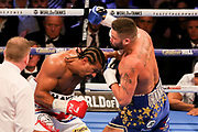 Tony Bellew throws a punch at David Haye at the O2 Arena, London, United Kingdom on 5 May 2018. Picture by Phil Duncan.
