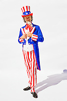 Full length portraiot of Uncle Sam on a white background...Model Release: 20080813_MR_A