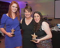Ability West CEO Breda Crehan-Roche (centre)presented Best Buddy Match Best Buddy Match GTI was Jean McEntee and Tracey Ward from Westside at the Ability West, Best Buddies ball at the Menlo Park Hotel, Galway. Photo:Andrew Downes Photography.