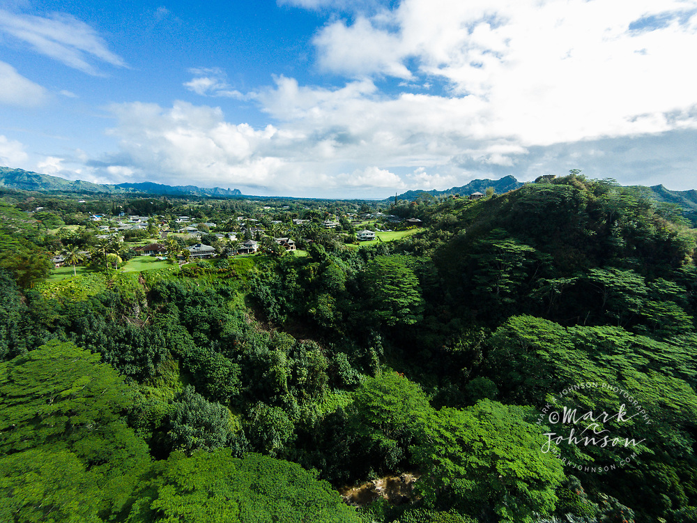 Aerial photograph of homes above the North Fork of the Wailua River, Kauai, Hawaii