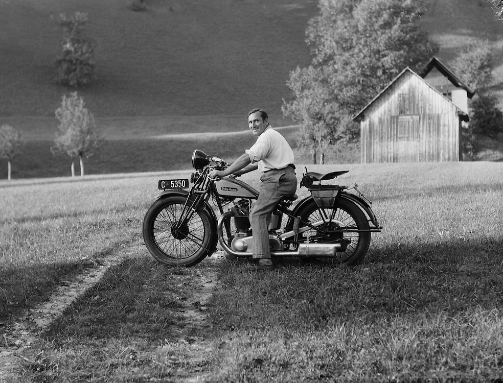 Carl Beirut, Chauffeur of Piesslinger on Motorcycle, Gstadt-Molln, Austria, c1933