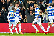 Goal Queens Park Rangers defender Grant Hall (4) scores a goal and celebrates 1-1 during the EFL Sky Bet Championship match between Queens Park Rangers and Brentford at the Kiyan Prince Foundation Stadium, London, England on 28 October 2019.