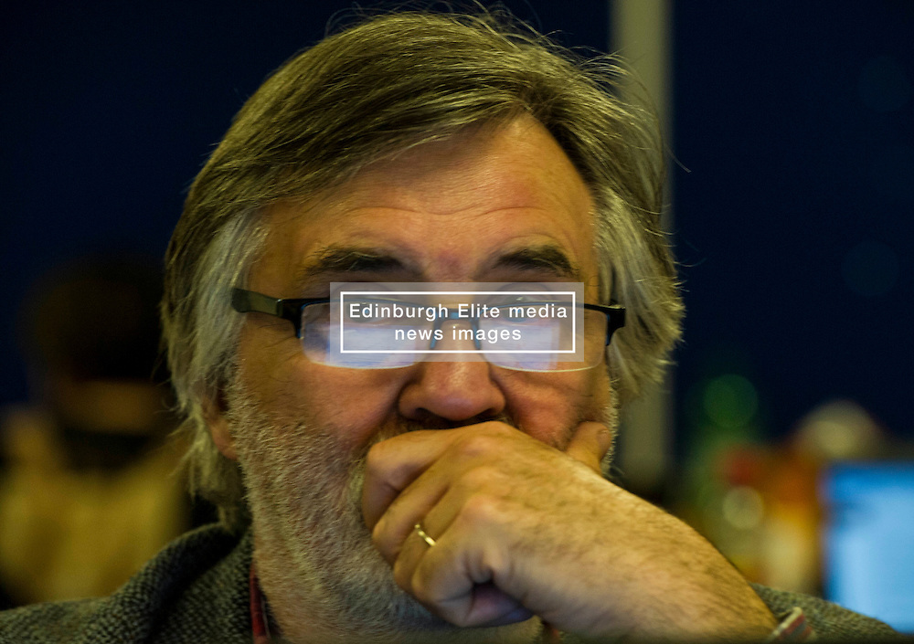 Pictured: Radio reporter Udo Seiwert-Fauti reflects on the results so far.<br /> <br /> The count has started for the Edinburgh Count as part of the Scottish Election 2016. A long night is anticipated with results predicted to start being announced around 7 AM<br /> <br /> <br /> <br /> Ger Harley | EEm 5 May 2016