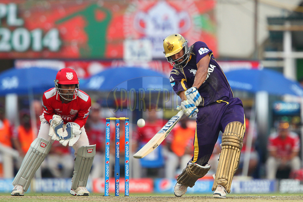 Yusuf Pathan launches a six during the first qualifier match (QF1) of the Pepsi Indian Premier League Season 2014 between the Kings XI Punjab and the Kolkata Knight Riders held at the Eden Gardens Cricket Stadium, Kolkata, India on the 28th May  2014<br /> <br /> Photo by Ron Gaunt / IPL / SPORTZPICS<br /> <br /> <br /> <br /> Image use subject to terms and conditions which can be found here:  http://sportzpics.photoshelter.com/gallery/Pepsi-IPL-Image-terms-and-conditions/G00004VW1IVJ.gB0/C0000TScjhBM6ikg
