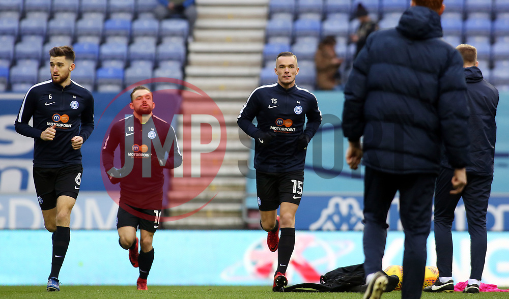 New Peterborough United signing Joe Ward (number 15) during the pre-match warm-up - Mandatory by-line: Joe Dent/JMP - 13/01/2018 - FOOTBALL - DW Stadium - Wigan, England - Wigan Athletic v Peterborough United - Sky Bet League One