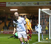 Dundee&rsquo;s Gary Harkins celebrates after scoring - Motherwell v Dundee - Ladbrokes Premiership at Fir Park<br /> <br /> <br />  - &copy; David Young - www.davidyoungphoto.co.uk - email: davidyoungphoto@gmail.com