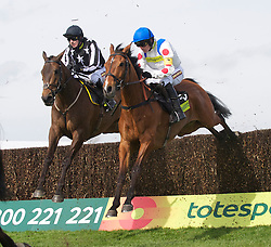 LIVERPOOL, ENGLAND - Thursday, April 8, 2010: Manchester United's manager Alex Ferguson's horse What A Friend ridden by Ruby Walsh jumps ahead of Imperial Commander to win the Totesport Bowl Steeple Chase during the opening day of the Grand National Festival at Aintree Racecourse. (Pic by David Rawcliffe/Propaganda)