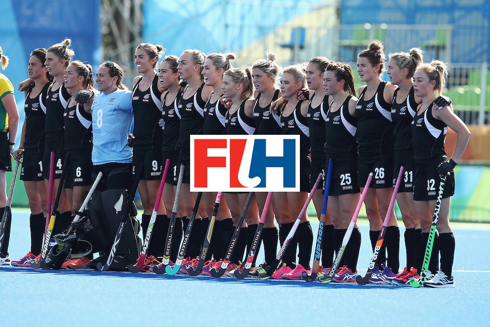 RIO DE JANEIRO, BRAZIL - AUGUST 07:  The New Zealand team aing the anthem before the women's pool A match between New Zealand and the Republic of Korea on Day 2 of the Rio 2016 Olympic Games at the Olympic Hockey Centre on August 7, 2016 in Rio de Janeiro, Brazil.  (Photo by Getty Images/Getty Images)